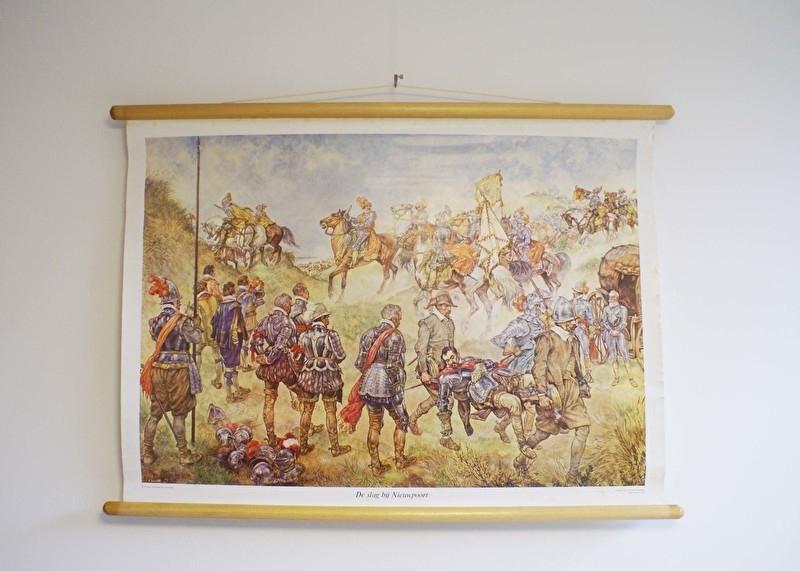 Oude retro geschiedenis schoolplaat- De slag bij Nieuwpoort. Vintage schoolkaart