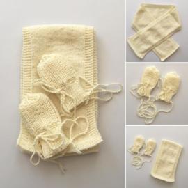 Handschoentjes en Sjaal - 100% wol - Diverse kleuren