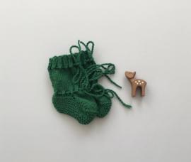 Baby Slofjes Groen 100% Wol - Ideaal voor in de draagzak