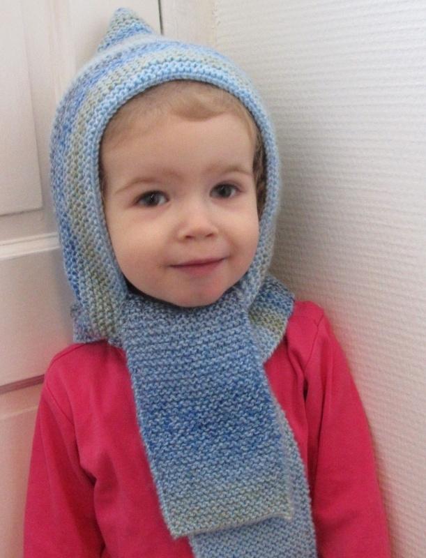 Blauw Sjaal Mutsje in een!
