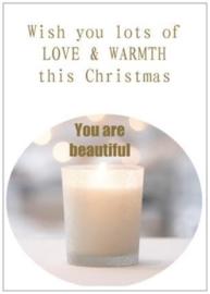 Kerstkaart | Love & Warmth | per 5 stuks