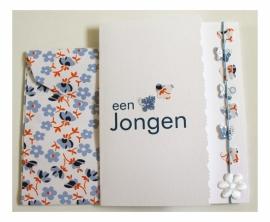 Geboorte wenskaart Jongen - Vlinder oranje/licht blauw
