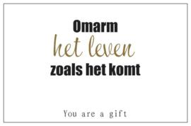 You are a gift inspiratiekaartje | Omarm het leven | per 5 stuks