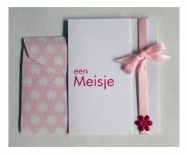 Geboorte wenskaart Meisje - Strikje zacht roze