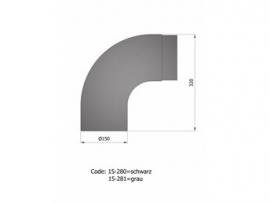 Volvorm bocht 90 graden zwart  / Ø 150 mm