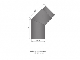 45 graden bocht zwart / Ø 120 mm
