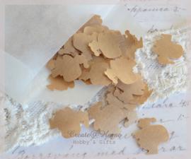 Gegomde kerstmannetjes bruin of wit in een pergamijn of kraft loonzakje