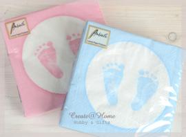 Servetten Baby voetjes jongen of meisje. Per 10