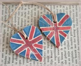 Houten hartjes Engelse vlag. Per 5