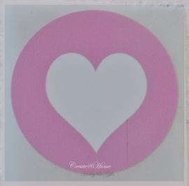 Ronde stickers met hartje roze/wit. Per 10