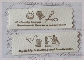 Zelfklevende stoffen Handmade labels. Per setje