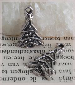 Bedels kerstboom metaal zilver. Per 10