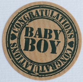 Kraft stickers rond Baby Boy. Per 10