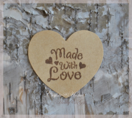 Kraft stickers hartje Made with love ♥. Per 10