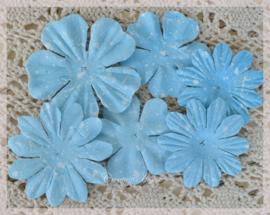 Papieren bloemen blauw. Per setje