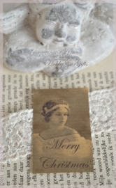 Kraft stickers brocante vrouw Merry Christmas. Per 5