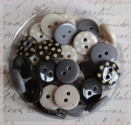 Polka Dot Buttons Midnight Blush. Per 30