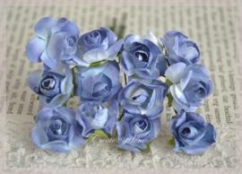 Papieren roosjes oudblauw. Per 10