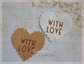 Gegomd kraftpapier hartje With love in diversen kleuren. Per 10