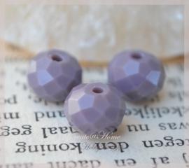 Facet roundell glaskralen vintage paars. Per 10