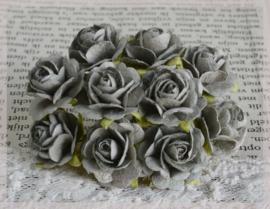 Papieren roosjes grijsgroen. Per 10
