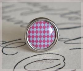 Brads splitpen zilver roze geruit 8 mm. Per 5