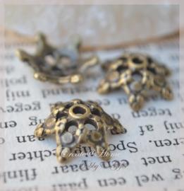 Metalen kraalkapjes brons. Per 10