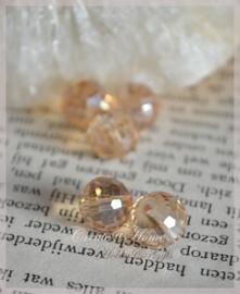 Facet glaskralen rond roze/goud AB. Per 10