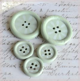 Houten knoopjes mint/wit. Per 2