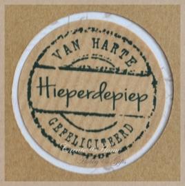 Kraft stickers rond Hieperdepiep. Per 10