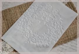 Bewerkte pergamijn loonzakjes, kerstkrans. Per 10