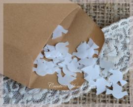 Gegomde duifjes bruin of wit in een pergamijn of kraft loonzakje