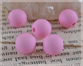 Acryl kralen rond mat roze. Per 10