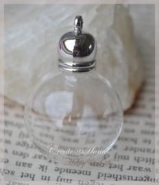 Glazen bol hanger/bedel flesje met kunststof kapje metal look. Per 5