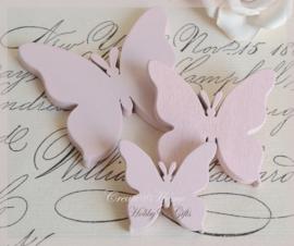 Houten vlinders lichtroze