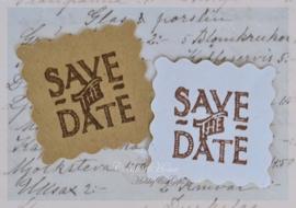 Kraft stickers postzegel met of zonder stempel Save the Date. Per 10