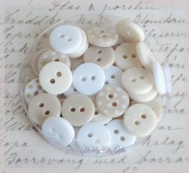 Polka Dot Buttons Oyster Blush. Per 30