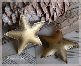 Metalen sterretje oud goud. Per 5