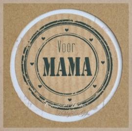Kraft stickers rond Mama. Per 10