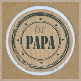 Kraft stickers rond Papa. Per 10