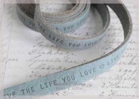 "Plat DQ leer met ""live the life you love"" print"