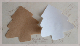 Gegomde kraft papier kerstbomen in 2 kleuren. Per 10