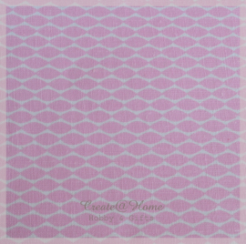 Stickervelletje van stof roze sliertjes