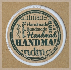 Kraft stickers rond Handmade. Per 10
