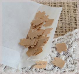 Gegomde kraftpapier cadeautjes in het bruin/wit in een pergamijn/kraft zakje