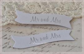 Dubbelzijdige tags Mr & Mrs. Per 10
