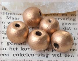 Houten kralen brons. Per 10