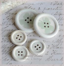 Houten knoopjes wit/mint. Per 2