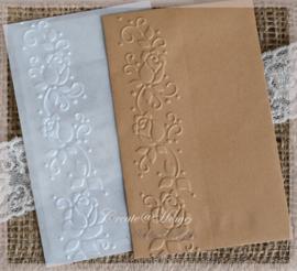 Bewerkte pergamijn & kraft loonzakjes, rozentak. Per 10