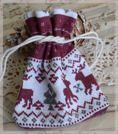 Katoenen/linnen zakje met kerst print, bordeaux. Per 10